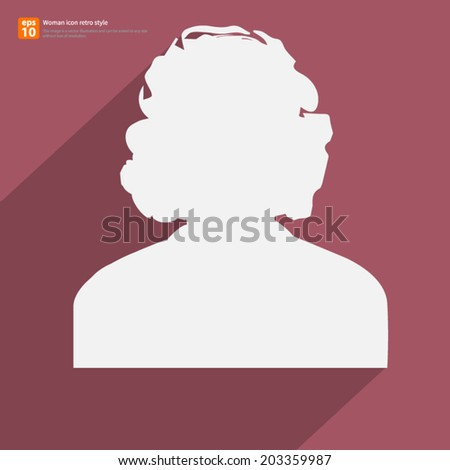 Retro Female avatar profile picture icon with shadow on vintage color background