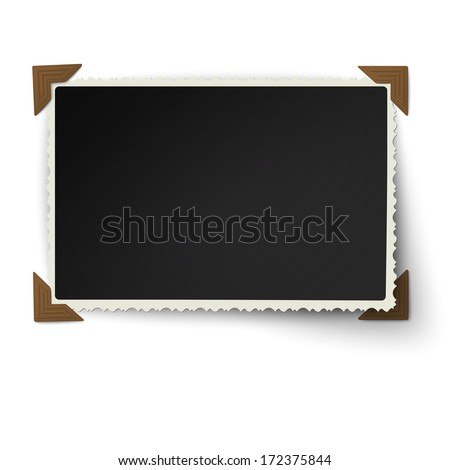 Retro figured edges photo frame with one not fixed turned up corner in vintage brown photo corners isolated on white background - stock vector