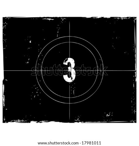 Retro film countdown vector illustration. Number 3 (see similar vectors in my profile) - stock vector