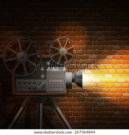 Retro film wallpaper with realistic projector and spotlight on brick wall background vector illustration - stock vector