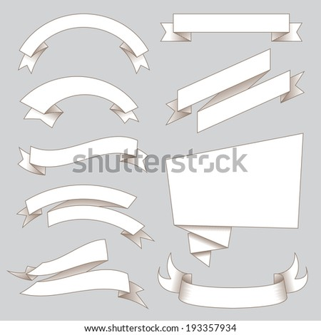 Retro Flags and Ribbons - stock vector