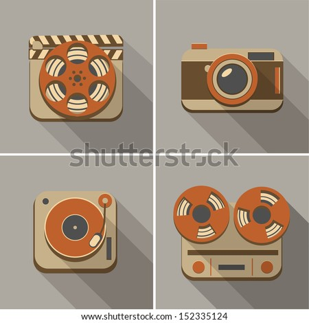 Retro flat arts icons: movie, music and photography - stock vector