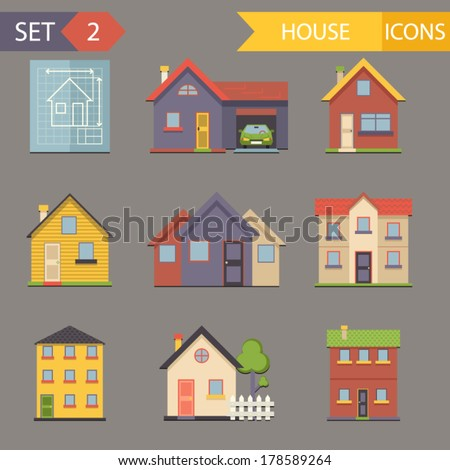 Retro Flat House Icons and Symbols set vector - stock vector