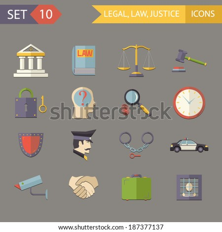 Retro Flat Law Legal Justice Icons and Symbols Set Vector Illustration