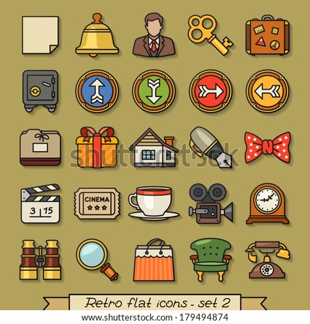 Retro flat line icons - set 2 - stock vector