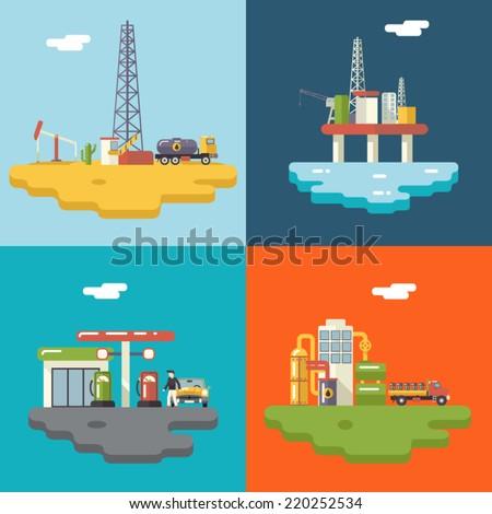 Retro Flat Oil Icons and Symbols Concept Set Vector Illustration - stock vector