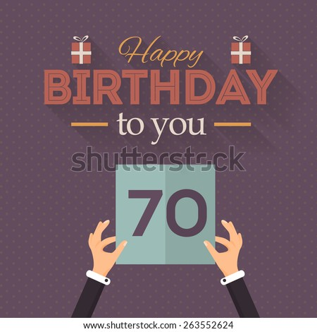 Retro Flat  Style Happy Birthday Vector Design. Announcement and Celebration Message Poster, Flyer Age Seventy - stock vector
