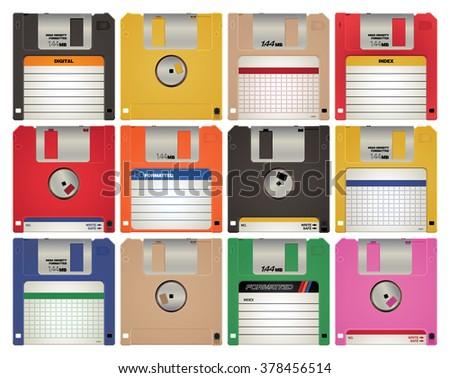 Retro floppy disc vector illustration. - stock vector