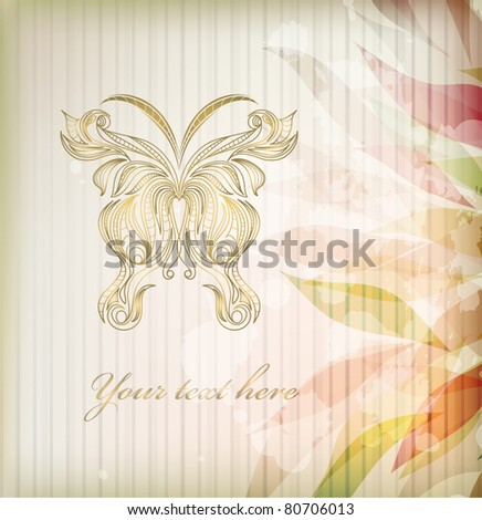 Retro floral abstract background for card with butterfly isolated on background with your text (vector version eps 10)