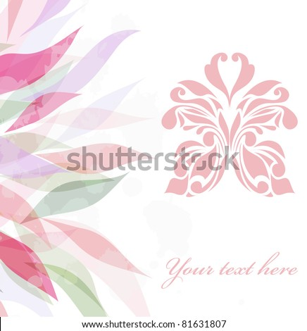 Retro floral background for card  isolated on white backdrop (vector version eps 10). Perfect for element design, web, sign, symbol, icon, logotype, logo, emblem, label. - stock vector