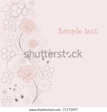 Retro floral background with birds and butterflies. - stock vector