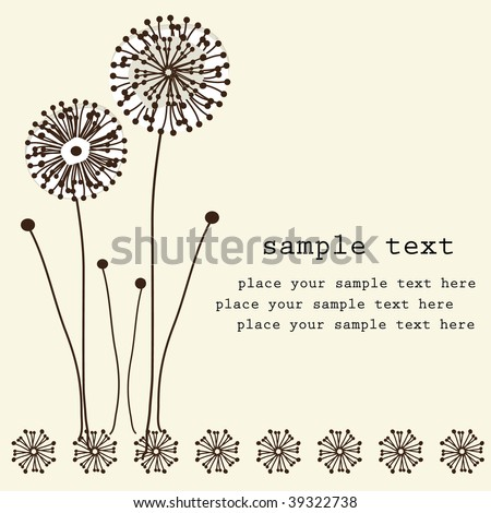 Retro floral background with dandelion. Vector illustration. - stock vector