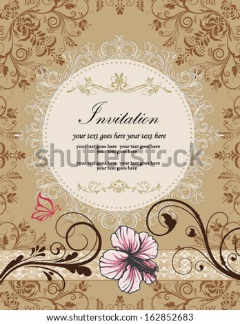 Retro floral card for events
