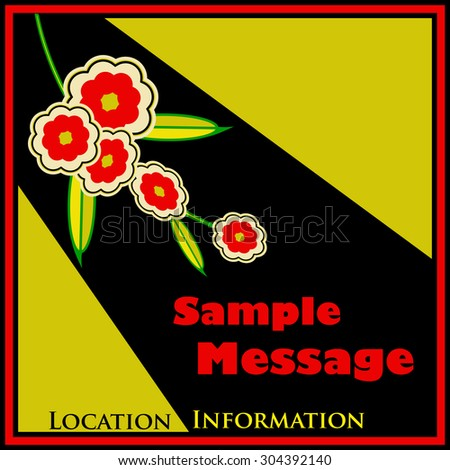 Retro Floral Flyer in a 1950's chocolate box style - stock vector