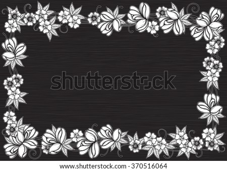 Retro floral frame. Vector ornate  border with many  flowers and leaves at engraving style.