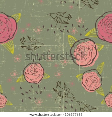 retro floral pattern with roses and birds