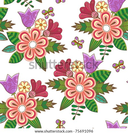 Retro floral seamless background, endless pattern with flowers - stock vector