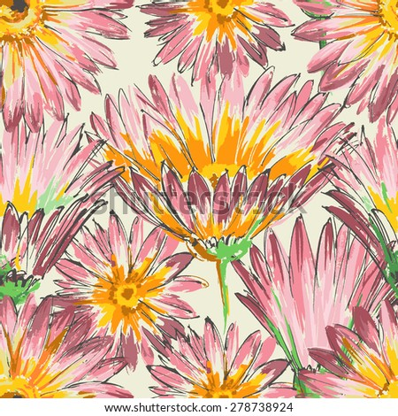 Retro floral seamless pattern, watercolor pink flowers - stock vector
