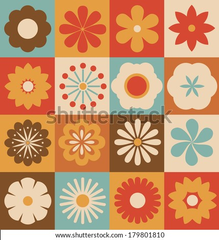 Retro Flower Collection - Vectorized Flowers from basic geometric elements - stock vector