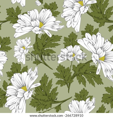 Retro flower seamless pattern - daisy. Vector. Easy to edit. - stock vector