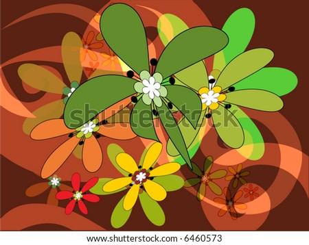 retro flowers - stock vector