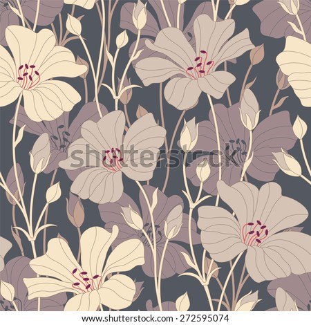 retro flowers on a dark background in seamless pattern - stock vector
