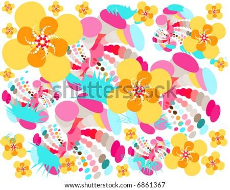retro flowers pattern - stock vector