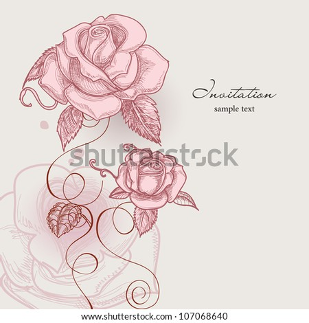 Retro flowers romantic roses vector illustration - stock vector