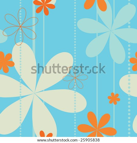 Retro flowers seamless background - stock vector