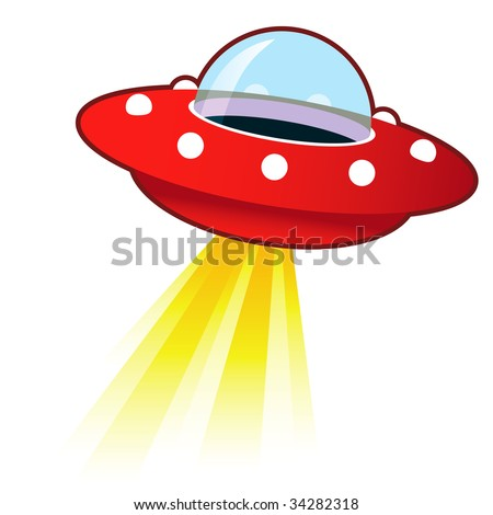 Retro flying saucer UFO with light beam.  Suitable for use on the web, in print, and on promotional materials. - stock vector