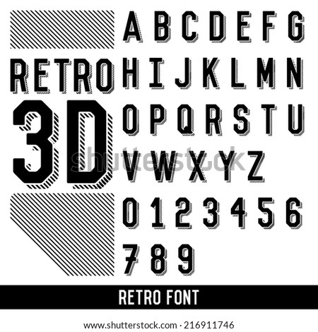 Retro font 3 d extruded type vector stock vector 216911746 retro font 3d extruded type vector expocarfo