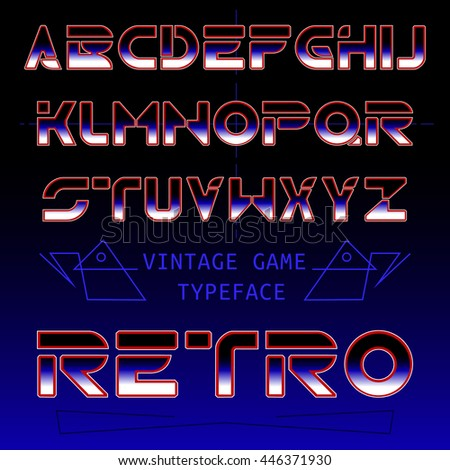 Retro font / gradient included old games font / futuristic font from 80's in disco vintage style. - stock vector