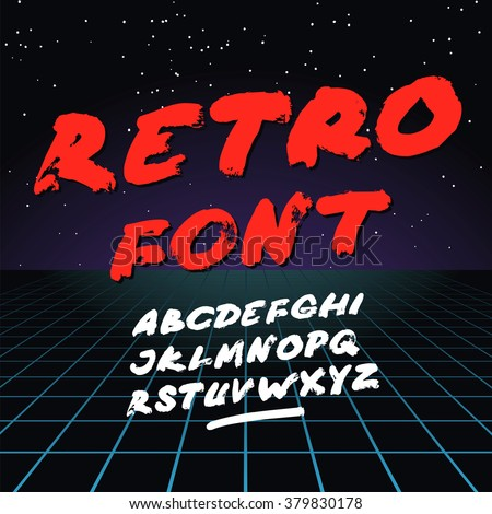 Retro font on light grid background. Vector alphabet - stock vector