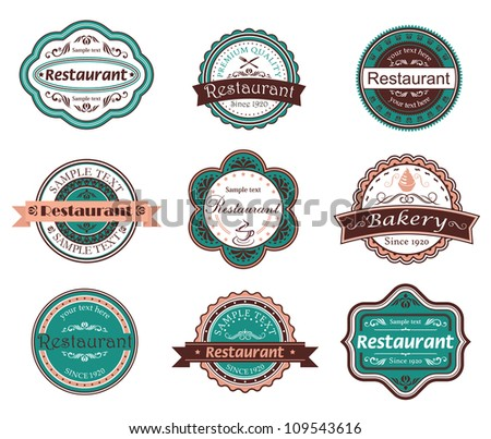 Retro food labels and emblems with embellishments. Jpeg version also available in gallery