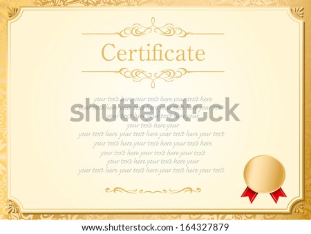 Retro frame certificate template vector stock vector 164327879 retro frame certificate template vector yadclub Images