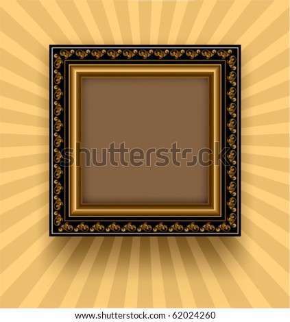 Retro frame on a striped background - stock vector