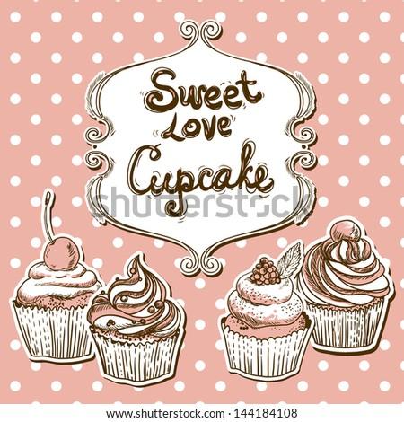 Retro frame with cupcake  on a polka dot - stock vector