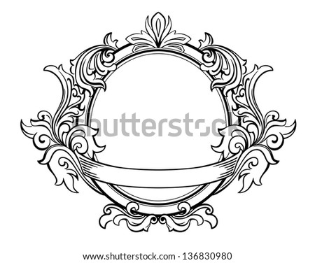 Retro frame with decorative floral elements in victorian style. Jpeg (bitmap) version also available in gallery - stock vector