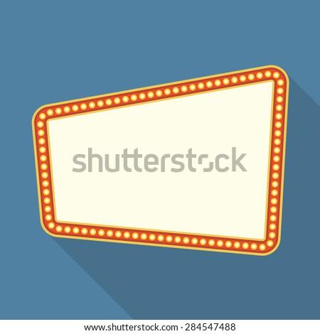 Retro frame with lights, flat design, vector eps10 illustration - stock vector
