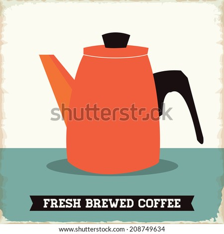 Retro Fresh Brewed Coffee Sign with Worn Edges - stock vector