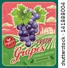 Retro Fresh Grapes Poster Design - stock vector