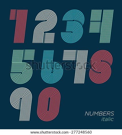 Retro fun numbers. Color set of vintage. - stock vector