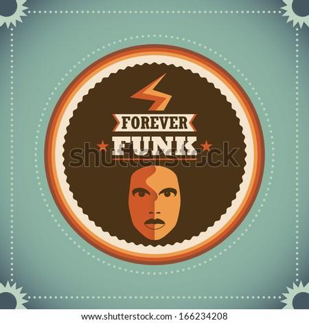 Retro funk poster. Vector illustration, - stock vector
