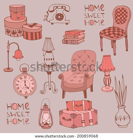 Retro Furniture and Home Accessorie. Home sweet home - stock vector