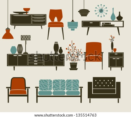 retro furniture and home accessories including coffee table side tables armchairs and chandeliers