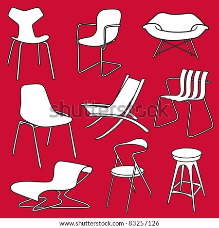 Retro furniture.Chairs from 50s, 60s vintage - stock vector