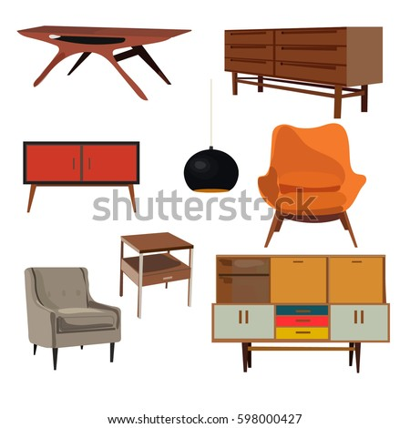 Retro Furniture Set Collection Danish Home Interior Design Living Room Vintage Armchair