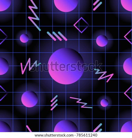 Retro Futuristic Seamless Pattern With Glowing Gradient Colored Circles And Lines Against Dark Checkered Background
