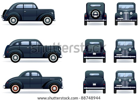 Retro gangster car (1930-40th). Set of the car icons in vector. The shadows are in the separate layer.