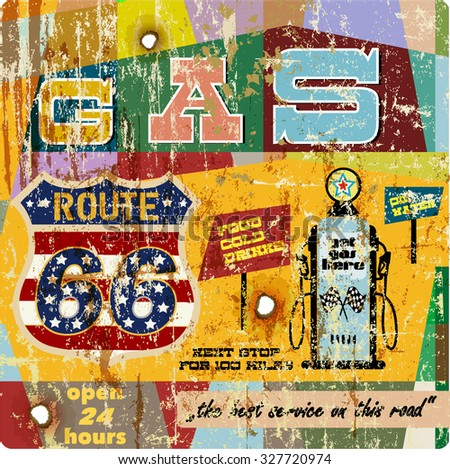 retro gas station sign route sixty six, super grunge vector, fictional artwork - stock vector